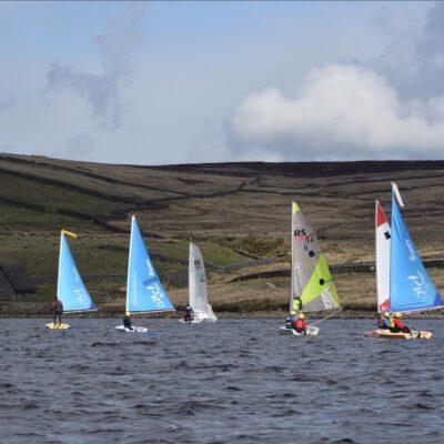 Seven sailing dinghies