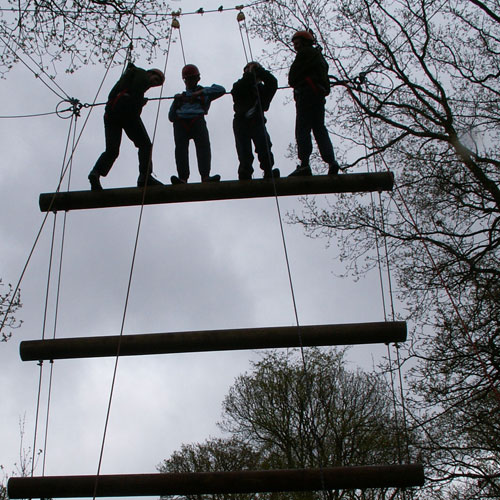 Four people at the top of a Jacob's Ladder